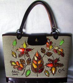 """Enid Collins, Collins of Texas, """"Autumn Leaves', vintage handbag."""