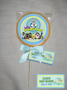 baby looney tunes baby shower chocolate lollipop or cookie pinkblue