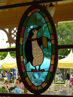 Stained Glass Penguin at Jolly Holiday Restaurant, Main Street, USA, Disneyland - Photo by Jefferson Lewis Penguin World, Penguin Art, Penguin Love, Disney Stained Glass, Penguin Pictures, Penguin Tattoo, Eastern Star, Jolly Holiday, Glass Birds