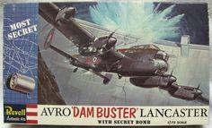 Revell Avro Dam Buster Lancaster With Secret Bomb, plastic model kit Vintage Models, Vintage Box, Old Models, Plastic Model Kits, Plastic Models, Cover Pics, Cover Art, Revell Model Kits, Airfix Kits