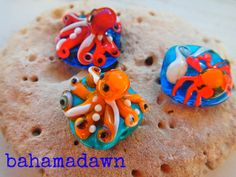 Octopus & Crab Glass Beads, made in the Bahamas.