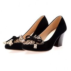 25b848b2cc73 AllhqFashion Sexy PU Frosted Solid Kitten Heel Pumps with Leopard and...  ( 38