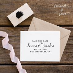 Save the Date stamp by Fairmont & Grove Rubber Stamps Using Cantoni Font