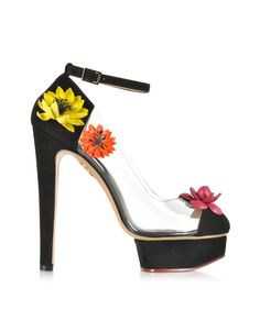 Charlotte Olympia Flora Black Suede And Transparent Pvc Platform Sandal in Black | Lyst