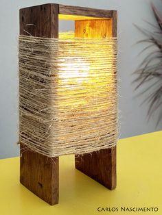 Pallet and sisal lamp on Wooden Lamp, Wooden Diy, Handmade Home Decor, Diy Home Decor, Diy Floor Lamp, Deco Luminaire, Driftwood Lamp, Wood Pendant Light, Diy Flooring