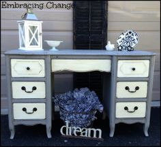 Two-tone desk makeover - Embracing Change- Country Chic Paint in Vanilla Frosting and Pebble.  Hardware by D. Lawless.