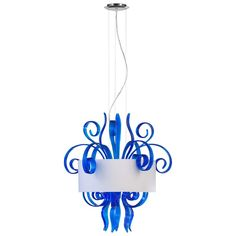 Blue Glass Jellyfish Six Light White Shade Pendant Modern Design Lighting  Plunge into some fun with this contemporary ceiling pendant. The Blue Murano style glass and silver liner gleams with curvaceous vitality that looks magnificent in your living room, kitchen, den, or dining room