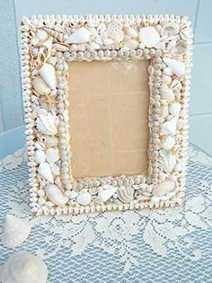 Ocean Vintage, Seashell Picture Frame / Seashell Picture Frames / Shell Decor™ > Beautiful, decorated Sea Shell and Seashell Mirrors.