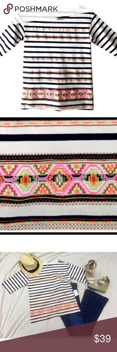 J.Crew Tribal Neon Striped Top Classic boat neck top with unexpected neon embroidery! Boxy fit. Sleeves are elbow length. Navy and off white striped with neon embroidery accent design. Inspired by a vintage piece with intricate embroidery, our design team took a crisp skinny-stripe top and overlaid it with a graphic-stitched motif.. good condition, no stains. J.Crew Factory Tops Tees - Short Sleeve
