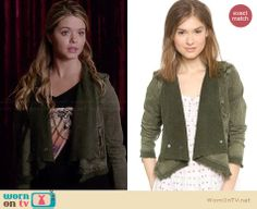 Ali's green draped front jacket on Pretty Little Liars.  Outfit Details: http://wornontv.net/34057/ #PLL
