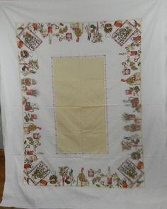 "Vintage Cotton Tablecloth Kitchen Herbs Vegetables Fruits Food 74""x60"" Linens"