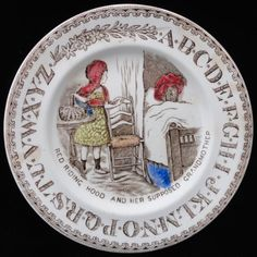 $320 EARLY CHILDS PEARLWARE ABC PLATE  RED RIDING HOOD RED RIDING HOOD   AND HER SUPPOSED GRANDMOTHER  BROWNHILLS POTTERY CO   Staffordshire England  c.