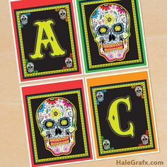 FREE Printable Day of the Dead Alphabet Banner