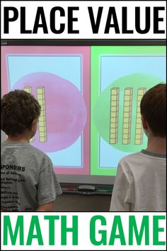 Place Value Game Place Value Math Games, Math Games For Kids, Telling Time Activities, First Grade Activities, Subtraction Activities, Phonics Activities, Classroom Games, Classroom Ideas, Interactive Math Journals