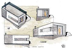 Architectural flow: Surrealist home illustrations by Neyra - Dibuix - Architektur Architecture Concept Drawings, Architecture Sketchbook, Architecture Student, Architecture Plan, Architecture Details, Interior Architecture Drawing, Classical Architecture, Building Sketch, Casas Containers