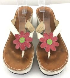 acdf05b31fa Coach Leather Thong Wedge Sandals Heels 8.5B Tacey Flower Applique Made In  Italy  coach