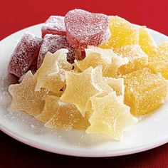 Fruit Jellies Recipe.  Could make jelly stars, Christmas trees or presents.