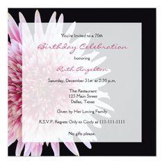 70th Birthday Party Invitation Gerbera Daisy