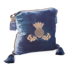 "Highbanks Square Pillow - French Blue velvet, embroidered with thistle emblem in ""antiqued, silver-coated, copper thread.  Accented with four tassels and semi-precious beads.""  Mackenzie-Childs"