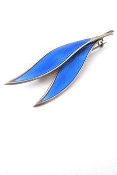 David-Andersen, Norway - vintage silver and enamel twin leaf brooch