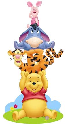 Winnie the Pooh, Tigger, Eeyore & Piglet Disney Winnie The Pooh, Tigger And Pooh, Winne The Pooh, Winnie The Pooh Quotes, Disney Love, Disney Art, Walt Disney, Pooh Bebe, Eeyore Pictures