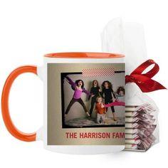 Washi Tape Frame Mug, Orange, with Ghirardelli Peppermint Bark, 11 oz, Beige