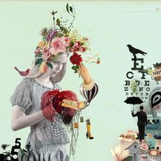 © Amalia Pereira #collage #flowers #hat