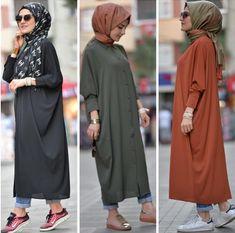Kurtarıcı günlük kap Hijab Fashion 2016, Modern Hijab Fashion, Frock Fashion, Islamic Fashion, Abaya Fashion, Muslim Fashion, Fashion Outfits, Casual Hijab Outfit, Hijab Chic