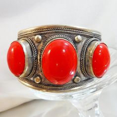 Vintage Silver Red Cuff Bracelet. Silver Plated. Bold by waalaa