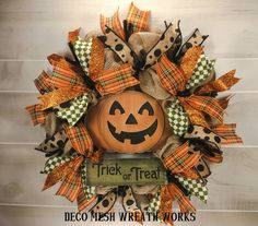 Halloween Wreaths, Halloween 2018, Halloween Ideas, Wreaths For Sale, Deco Mesh Wreaths, Gourds, Trick Or Treat, Farmhouse Halloween, My Etsy Shop