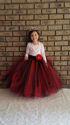Black Red Flower girl long Tutu Skirt by FunkidsandUsBoutique