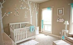 Neutral bany room. Brown with tree amd birds