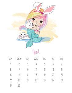 This Free Printable 2019 Kawaii Mermaid Calendar is gonig to make you smile! It is fabulous for mermaid lovers of all ages! Free Printable Calendar Templates, Calendar 2019 Printable, Cute Calendar, Kids Calendar, 2019 Calendar, Calendar Design, Free Printables, Blank Calendar, Calendario Editable