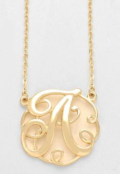 monogram initial necklace 15 letter a pendant gold chain