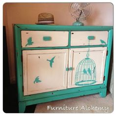 Way to go Furniture Alchemy! We love how you used our Freedom Stencil to give this dresser a turquoise makeover!  Where would you use this nature inspired stencil? http://www.cuttingedgestencils.com/wall-stencil-bird-cage.html  #cuttingedgestencils #stencils #stenciling #paintedfurniture