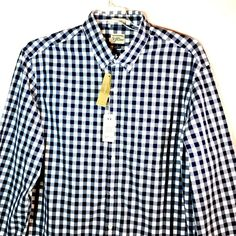 b7400315 J Crew Mens Size Large Classic Shirt Button Down Blue White Plaid Checkered  #JCREW #