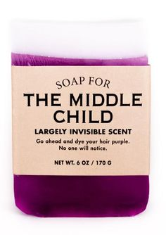 Whiskey River Soap Co. - Soap for The Middle Child, 6 oz, Rubber cement scented National Middle Child Day, Middle Child Syndrome, Whiskey River Soap, Party Favors, Funny Candles, Rubber Cement, Bubble, Baby T Shirts, Older Siblings
