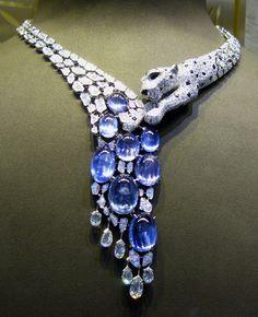 platinum, sapphire & diamond panther necklace // cartier