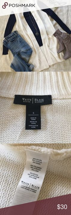 White House Black Market Cream Sweater Vest White House Black Market Cream Sweater Vest White House Black Market Sweaters