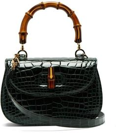 9d3985e85a86 Gucci Bamboo Handle Crocodile Leather Bag - Womens - Green - ShopStyle