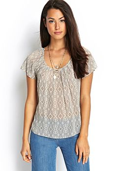 Pleated Tribal Print Top   FOREVER 21 - 2000063078
