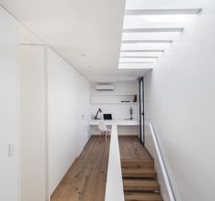 Image 3 of 59 from gallery of House N / Estudio GM ARQ. Photograph by Alejandro Peral Concrete Architecture, Residential Architecture, Interior Architecture, Arch Interior, Interior Stairs, Roof Window, Modern Garden Design, Ground Floor Plan, White Decor