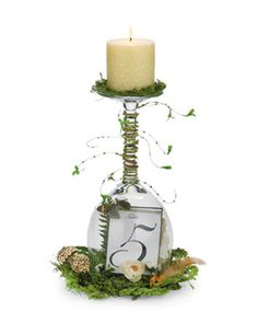 Terrarium Table Centerpiece: This terrarium centerpiece is a unique way to display table numbers on your big day. Your wedding guests will be impressed with the beautiful and whimsical design! Terrarium Table, Terrarium Centerpiece, Terrarium Wedding, Centerpiece Ideas, Wine Glass Centerpieces, Wedding Table Centerpieces, Reception Decorations, Table Decorations, Trendy Wedding