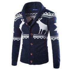 Autumn Winter Men long-sleeve deer sweater Colourful High-grade v collar Men's Cardigan Knitwear Male Slim Casual Sweaters