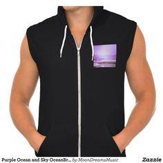 Purple Ocean and Sky OceanBreeze California Hoodie #mens #hoodie #California #ziphoodie #sleeveless #fashion #ocean #beach #sky #purple