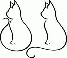 Two cats of the shape of the cat on the left. Facing each other and their tails make a heart.