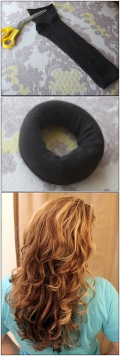 DIY – How To Use A Sock To Get Beautiful Curly Hair Without Heat -->post now read later -- interested! No Heat Hairstyles, Diy Hairstyles, Pretty Hairstyles, Curly Hair Styles, Natural Hair Styles, Hair Affair, Tips Belleza, Looks Cool, Hair Dos