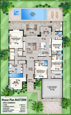 Contemporary House Plan with Study and Covered Lanai - floor plan . Contemporary House Plan with Study and Covered Lanai - floor plan - Main Level Florida House Plans, New House Plans, Dream House Plans, Florida Home, House Floor Plans, Dream Houses, Bedroom Floor Plans, Florida Style, Florida Living