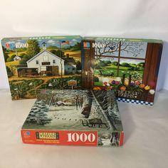 MB Charles Wysocki Puzzles 1000 Piece Lot Of 3 Christmas Cardinal Jigsaw  #MiltonBradley