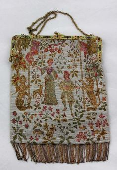 7494d842a924 Museum quality Antique Purse Micro Beaded  amp  Jeweled frame Medieval  hunting scene Noble  amp